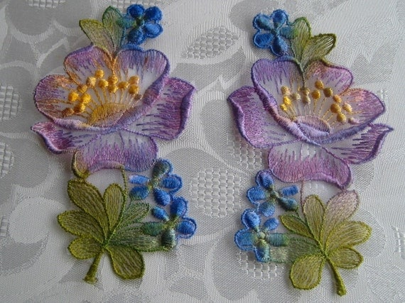 Pair of hand dyed embroidered appliques