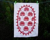 New Zealand Pohutukawa flower screen-printed linen teatowel