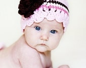 Pastel Pink, Chocolate Brown, Eggshell, Rose Pink - Flapper Beanie with Flower