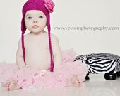 NEW - Abbey Rose Earflap Hat with Detachable Shocking Pink Rosette Flower by Totz Hatz - You Choose Color