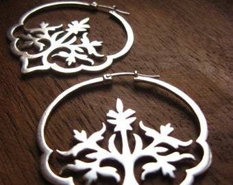 dreaming in hindi hoops - handcrafted floral indian hoop earrings // boho hoops // big hoops