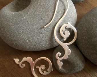 happiness of being earrings - Historical scrollwork threader earrings