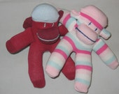 Two Tiny Sock Monkeys from Monkeygang Collection RESERVED FOR BECKYNOT