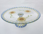 Hand Painted SUNFLOWERS Glass  Pedestal Serving  Plate