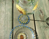 Hand Painted SUNFLOWERS Red Wine Glass