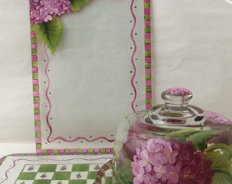 Hand Painted PINK HYDRANGEA Small Cutting  Board