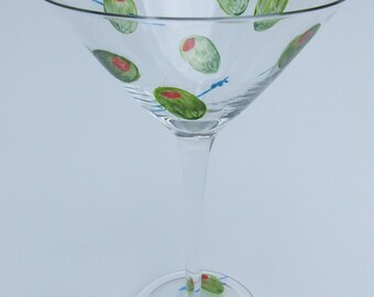 Classic Olives hand painted martini glass