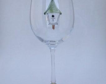Hand Painted BIRDHOUSE White Wine Glass