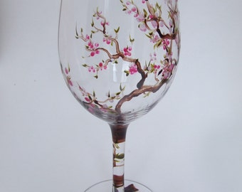 Hand Painted CHERRY BLOSSOM White Wine Glass