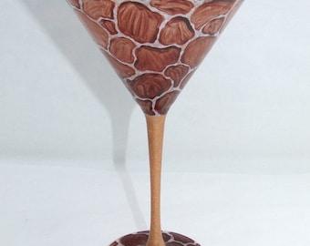 Giraffe Hand Painted  Martini Glass