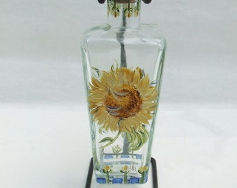 Hand Painted SUNFLOWER Olive Oil Bottle with Stand