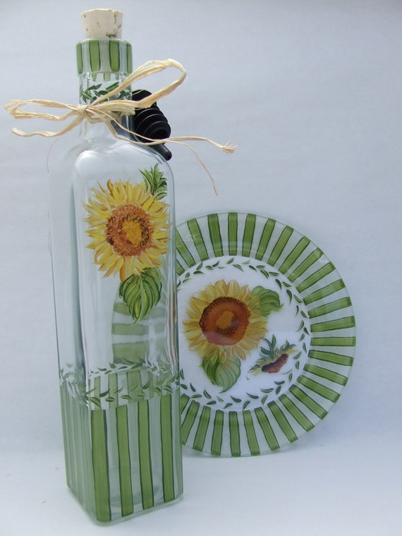 Hand Painted SUNFLOWERS Olive Oil Bottle