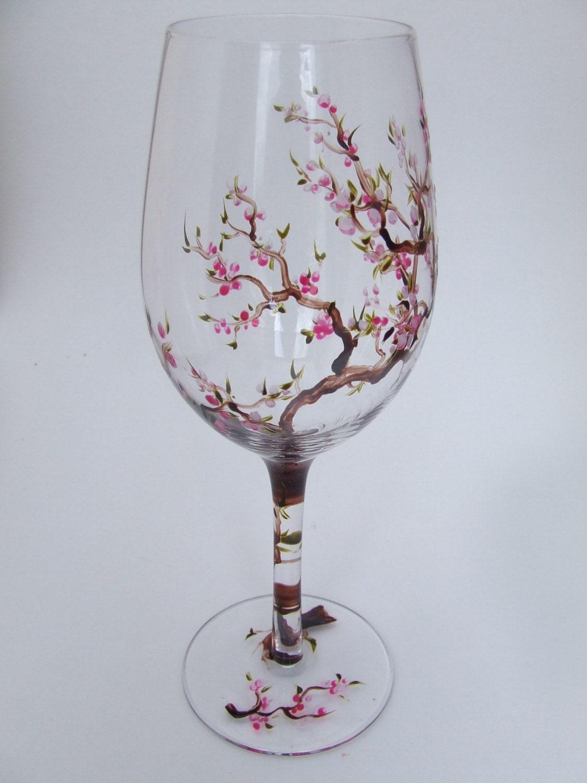 Hand Painted Cherry Blossom White Wine Glass