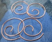 Small Hoops. MINI COLLECTION. 2 sets of 2 Pairs of small swirl hoop earring with hammered surfaces in 18 gauge solid copper wire