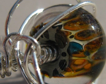 SPECTACULAR. Artisan Glass Lampwork Wire wrapped ring in size 9