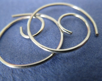 Free Shipping Item. Small Hoop Earrings. THINNIER.  Swirls with Smooth Surface in 20 gauge German Nickel Silver wire