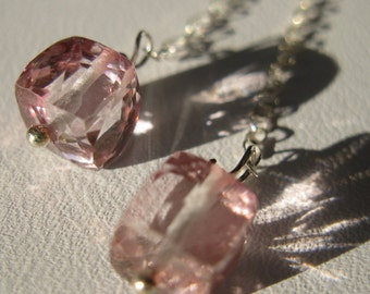 Mystic Quartz Earrings. PETUNIA. Pink Mystic Quartz cube Drop Earrings With Slightly Oxidized Sterling silver chain