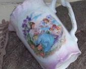 Mother & Child Antique Victorian/Edwardian Pink Lustre Ware Cream Jug