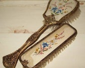 Pretty Embroidered and Filigree Hair and Clothes Brush  - 1950s