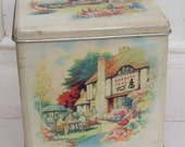Anyone for Tea - Lovely Vintage Old English Country Tea Rooms Scene - Tin Tea Caddy