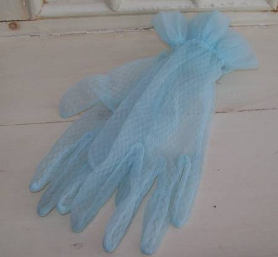 These Make a Pretty Pair - Vintage 1950's Blue Net Gloves.
