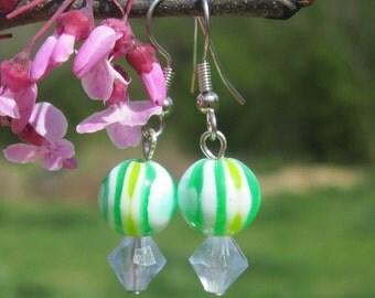 Green and Light Blue Earrings