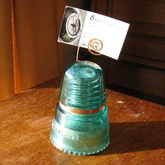 Blue green glass insulator photo card holder for Glass electric insulator crafts