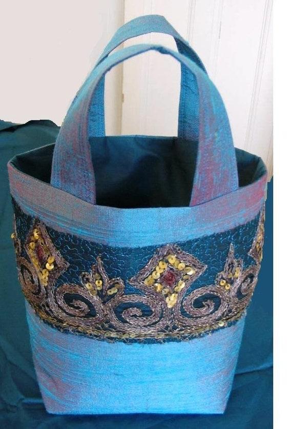 Shot Silk Sari Embroidered Bag