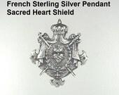 925 FRENCH Sterling Silver PENDANT Crown SACRED HEART Swords Drape CROSS