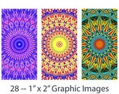 Mexican Suns -- (28) 1 x 2 Inch Graphics -- Digital Collage Sheet