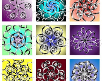 Metallic Ribbon -- (63) 1 x 1 Inch Graphics -- Digital Collage Sheet