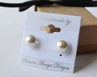 8mm Magnetic Swarovski Crystal Pearl Studs for Non-Pierced Ears - 18 Color Choices
