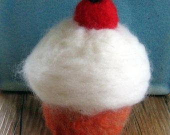Needle felted orange cupcake with vanilla icing