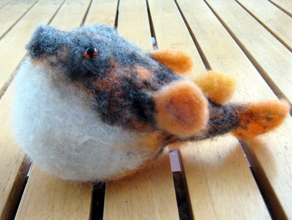 Needle felted Tiger Fugu Puffer Fish