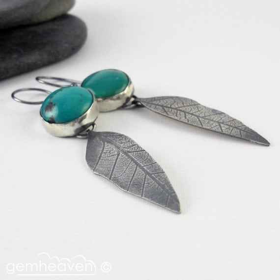 oO RESERVED Oo Turquoise and sterling silver leaf earrings - From the vibrant Tree -
