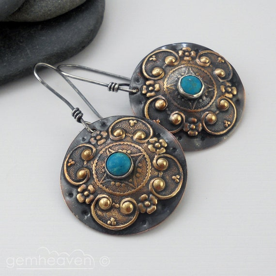 Sterling silver, brass, copper  and Turquoise cabochon earrings - Gladiatrix VII -