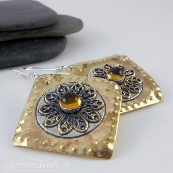 Sterling silver, and  brass and Citrine cabochon earrings - Gladiatrix IX -