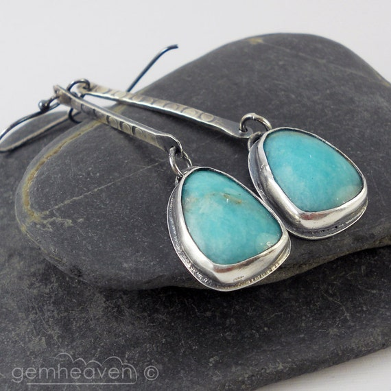 Sterling silver and pale blue Amazonite cabochon long earrings  - Rina -
