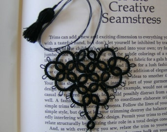 POET'S HEART       Tatted Lace Heart bookmark in Black