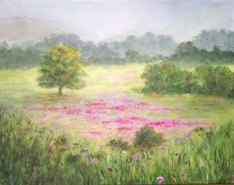 Spring Fields   18x24 Lg Acrylic Pastel colored soft Painting