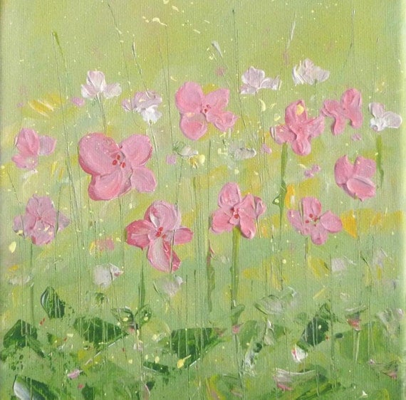 Textured flower painting, Pastel Fields series/2,  8x10 acrylic original painting, spring meadow