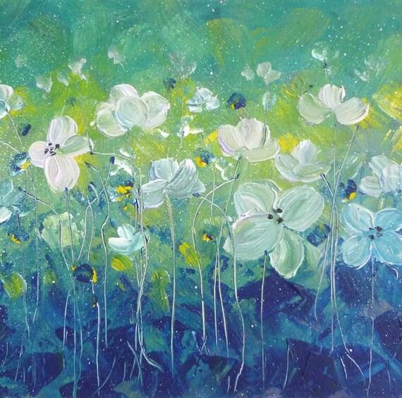 Textured flower painting, Pastel Fields series/3, 11x14 acrylic original painting