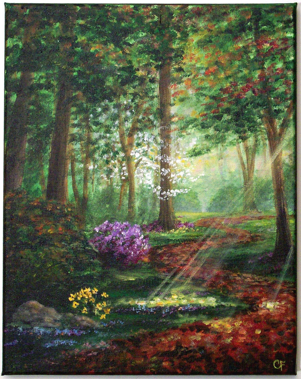 Original 11x14 tree forest fall acrylic painting peaceful for Painting a forest in acrylics