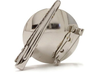 "24 Metal Brooch with Alligator Clip 1 3/8"" (35mm) Disk"