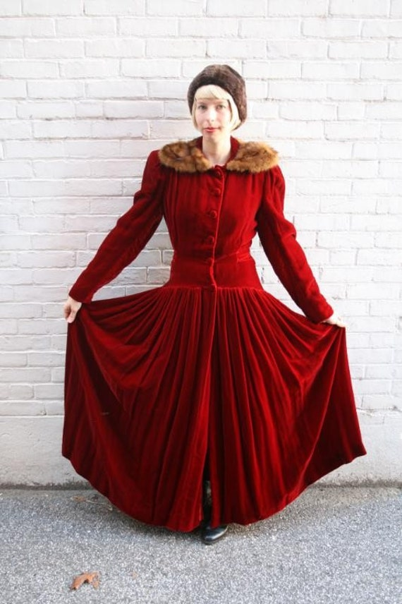 RESERVED for Marita - 1940s Long Red Velvet Julius Garfinkel Dress with Mink Collar Size sm