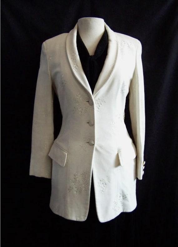 Salvatore Ferragamo Crisp White Cotton Long Jacket 1980s