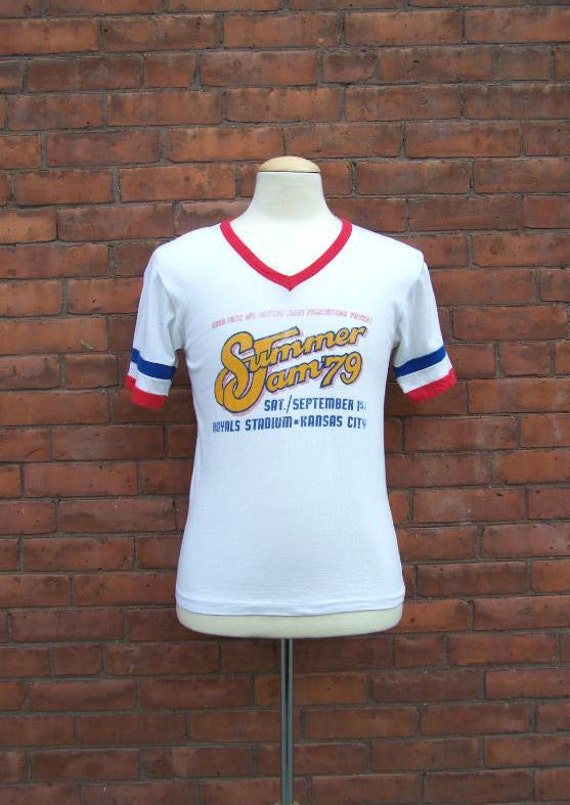 1979 Summer Jam V Neck Festival Concert T Shirt Royals Stadium Kansas City