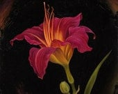 Olive Bailey Langdon Daylily - Original Oil Painting on Wood 8x8