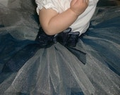 Tudaloos By Sally Navy Blue and Silver Tutu  2T to 4T  Ready to Ship with Detachable Bow