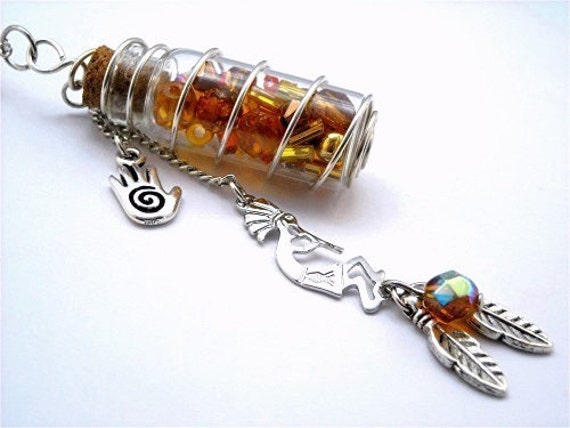 Charm Pendant Necklace Southwest Design Wire Wrapped Amber